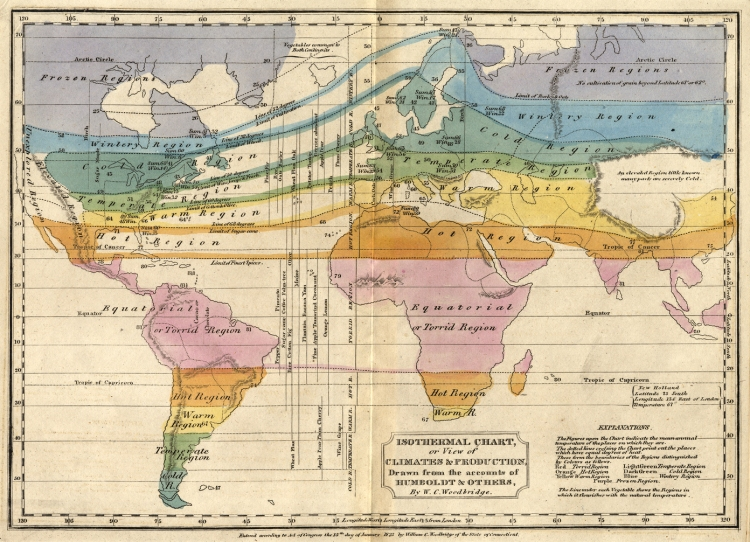 An 1823 map using Humboldt's innovation of isotherm lines, which connect points that average the same temperature.