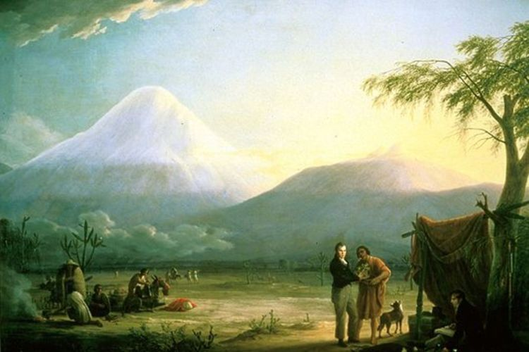 Humboldt and colleague Aimé Bonpland in front of the Chimborazo volcano in Ecuador.